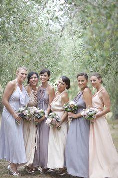 Bridesmaids in Shades of Purple and Blush | Waiheke Island Wedding - I Do Photography