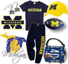 """Football Season - Go Michigan!"" by smylin on Polyvore"