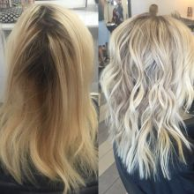 """Chrissy Rasmussen (@hairby_chrissy) owner of Habit Salon in Gilbert, Arizona, has a wonderful Instagram page filled with lots of pretty, long blonde hair. When we saw this transformation we had to know more. """"This first time client came with a bumped base which turned to brass with yellow ends,"""" she says. """"She was looking to brighten and go a bit ashier."""" Here Rasmussen shares the HOW TO:"""