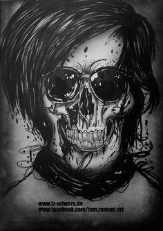 """Kool Skull"" auf Leinwand Größe: 50 cm x 70cm Material: Marker, Airbrush Ort/Jahr: Bochum/2014"