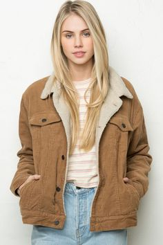 Brandy ♥ Melville | Elisha Corduroy Fur Jacket - Outerwear - Clothing