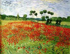 Field of Poppies, Auvers-Sur-Oise, 1890. Vincent van Gogh #art #painting #vincentvangogh