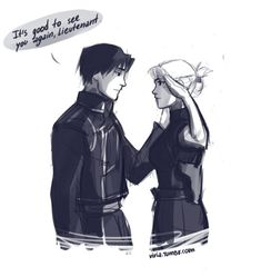 viria: Because we all know whom Roy wanted to see most of all…. I needed some Royai, but I feel like I suck so much now..also I am not sure with which hand they doing that 'salute thing'.. so don't mind me if I got it wrong..