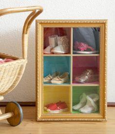 Love this DIY shadow box for saving/showcasing those precious tiny baby shoes!