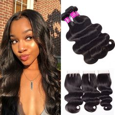 """La'Mo Hair on Instagram: """"😩 #shepretty👸 Body Wave Bundles With 5x5 6x6 Lace Closure 10-28 Inch🔥 Now available for anyone, anywhere, anyday💗 Up to 65% off entire…"""" Best Virgin Hair, Virgin Hair Bundles, Waves Bundle, Lace Closure, Body Wave, Weave Hairstyles, Hair Extensions, Instagram, Fashion"""