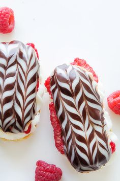 Raspberry Eclairs with Bakers Royale Profiteroles, Funnel Cakes, Raspberry Eclairs, Just Desserts, Dessert Recipes, French Desserts, Cream Puff Recipe, Eat Dessert First, Sweet Bread