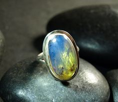 Dominican Blue n Green Clear Amber Large Oval Ring by MyBeachStore