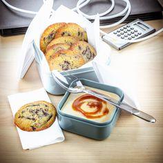 Cuisine Companion de Moulinex déjeuner au travail recette crème caramel au beurre salé et cookies chocolat…