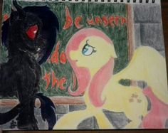"""""""Something Bad"""" by -- omgsh it's done. I put HOURS into this. I know it's not perfect, but I think it's pretty good. I messed up Clone though >~> the chalkboard says """"Demons should be unseen in the shadows NOT seen in the light"""" Art Rules, I Messed Up, Something Bad, We Are Family, Pretty Good, Demons, Art Boards, Shadows, Chalkboard"""