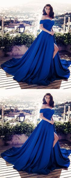 Charming Navy Blue Satin V-neck Off Shoulder Prom Dresses Long Evening Gowns With Front Split #longpromdresses
