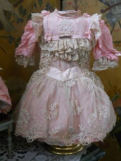 ~~~ Wonderful French Pink BeBe Costume with Bonnet ~~~ from whendreamscometrue on Ruby Lane