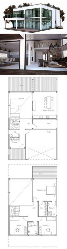 Plan du0027une maison sur une terrain en longueur 2d and House - idee plan maison en longueur