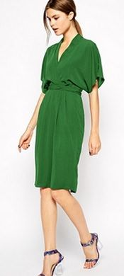 Love this green! Pencil Dress with Kimono Wrap Detail