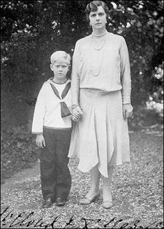 Prince Philip, the Duke of Edinburgh, as a child with his Mother, Princess Alice of Battenberg.
