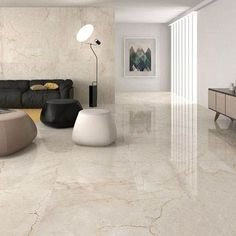 Classic cream gloss floor tiles have a lovely marble effect finish and to capture the natural beauty of marble there is high variation between the tiles. This large porcelain tile flooring is perfect for contemporary or traditional environments and with a Living Room Tiles, Kitchen Marble, Tile Floor Living Room, Room Design, Living Room Flooring, House Flooring, Room Tiles, Flooring, Living Room Designs