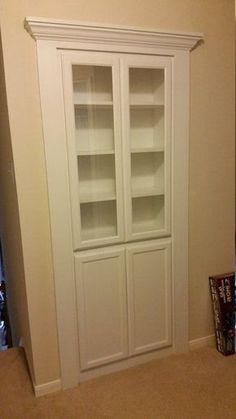 ideas hidden door shelves linen closets for 2019 Hidden Door Bookcase, Door Shelves, Recessed Shelves, Closet Shelves, Shelving, Hidden Spaces, Hidden Rooms, Hidden Closet, Stair Storage