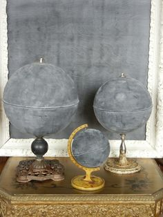 Chalkboard globes- great idea for Annie Sloan chalk paint and some beat up globes