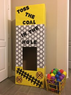 Train Birthday Party Game: Toss the Coal in the Hole!