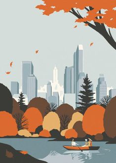 New York Autumn, Graphic Design Visual Design, , , New York Illustration, Autumn Illustration, Travel Illustration, Landscape Illustration, Graphic Design Illustration, Graphic Design Posters, Graphic Design Inspiration, Design Visual, Posca Art