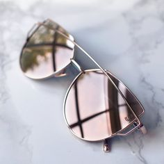 Sequin Sand pink rose blush mirrored cat eye aviator sunglasses