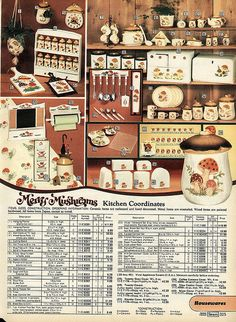 1977 Sears Christmas Catalog p.325, Merry Mushrooms Kitchen Coordinates