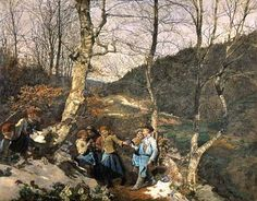 Bild:  Ferdinand Georg Waldmüller - Early Spring in the Vienna Woods (The Violet Pickers)