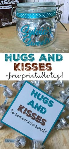 Hugs and KISSES Gift Idea + Free Printable Tag Birthday Gifts For Best Friend, Friend Birthday, Best Friend Gifts, Gifts For Friends, Gifts For Kids, Teacher Birthday, Birthday Wishes, Free Printable Gift Tags, Free Printables