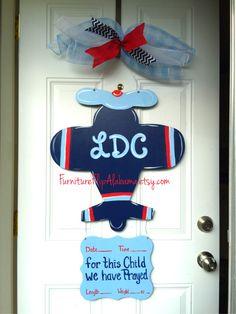 Hospital door hanger,Airplane door hanger,Hospital wreath, Baby wreath, baby decor, baby sign by Furnitureflipalabama on Etsy