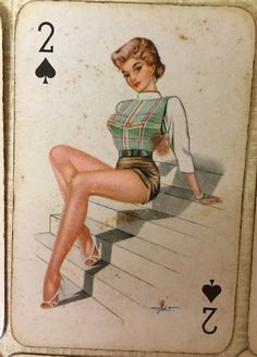 Vintage 1950s pinup girl playing cards Darling set by OuterLimitz