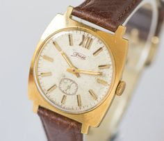Square case men's wrist watch gold plated gents watch by SovietEra