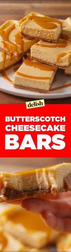 Butterscotch Cheesecake Bars = Delish's favorite dessert EVER. Get the recipe on Delish.com.