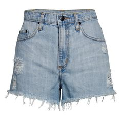 Nobody High Waisted Boy Shorts - Saltie (85 AUD) ❤ liked on Polyvore featuring shorts, bottoms, pants, saltie, high waisted cut off shorts, bleaching high waisted shorts, ripped shorts, destroyed shorts and boy shorts