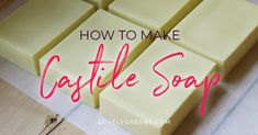 Recipe & instructions for making natural Castile soap with the simplest of ingredients. Includes tips on how to harden it up and cure olive oil soap faster. Castile Soap Recipes, Homemade Soap Recipes, Pure Olive Oil, Olive Oil Soap, Beauty Blender Video, Beauty Salon Interior, Shampoo Bar, Milk Soap, Natural Cleaning Products