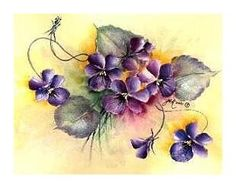 Judith Kittel (Australia) painted this card with violets using paints by Chroma.