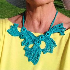 Exclusive Crochet NecklaceTeal Aqua Color by knittee on Etsy