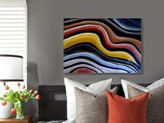 Urban Modern Retro Abstract Painting by MyDifferentStrokes on Etsy, $120.00