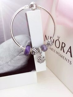 DIY your photo charms, 100% compatible with Pandora bracelets. Make your gifts special. Make your life special! 50% OFF!!! $159 Pandora Bangle Charm Bracelet Purple Flowers Christmas Sales 2015. Hot Sale!!! SKU: CB01673 - PANDORA Bracelet Ideas