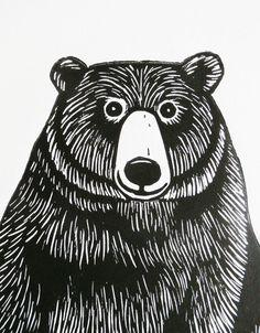 Bear Original Linocut Print Signed Limited Edition by KatLendacka