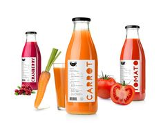 A new concept for fresh juice! This Russian line of juices is designed with minimal elements so as to not take away from the premium product inside.  I especially like the word cut-outs on each of the bottles.