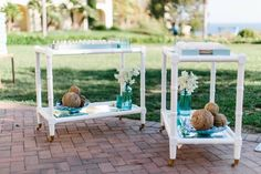 Bar Cart Escort Card Display | Photography: Braedon Photography. Read More:  http://www.insideweddings.com/weddings/orthodox-jewish-wedding-with-outdoor-ceremony-inspired-by-the-sea/812/