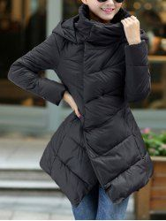 $40.28 Stylish Rabbit Hair Embellished Zipper Covered Button Long Sleeves Thickened Down Coat For Women