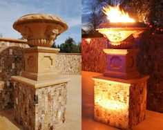 These hand-carved Summer Wheat Limestone fire bowls by Carved Stone Creations for a Steckling Builders home feature a unique built in hard plumbed gas line and hardware system that is remote controlled!  The warm glow of the flames at night are  a sight to behold.  We included an access panel on the side of the hollow pedestals to allow access to the valve and hardware.