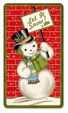 Let It Snow Retro Look Christmas Metal Sign with Snowman Cute | eBay