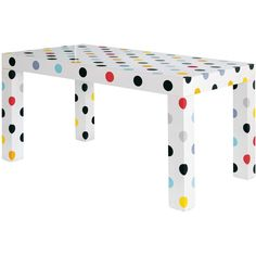 Retro Dining Table - Polka Dots (1,755 CAD) ❤ liked on Polyvore featuring home, furniture, tables, dining tables, retro table, hand made furniture, retro furniture, handmade furniture and retro kitchen table