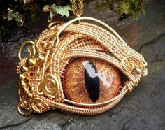Gothic Steampunk Evil Eye Golden Splendor with Glass Eye Large