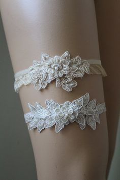 Wedding Garter,Champagne Lace Bridal Garter,Wedding Accessory,Bridal Lingerie,Wedding Lingerie