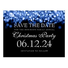 #savethedate #postcards - #Elegant Christmas Save The Date Blue Lights Postcard