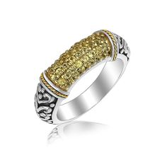 18K Yellow Gold and Sterling Silver Ring with Yellow Sapphire Stones