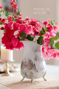 bougainvillea wedding - on tables