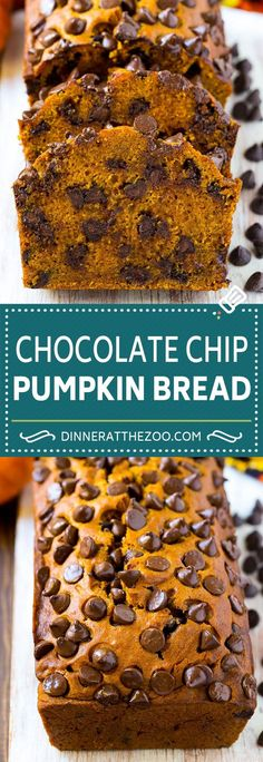 Pumpkin Chocolate Chip Bread Recipe | Pumpkin Bread | Chocolate Pumpkin Bread #pumpkin #bread #fall #chocolate #baking #dessert #dinneratthezoo